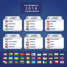 Fifa World Cup 2018 Group Fixtures Vector images
