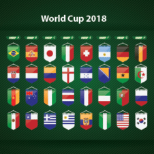 World Cup 2018 Team Flags Vector images